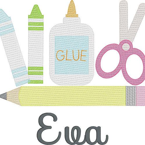 School Supply Sketch Design-- Embroidery