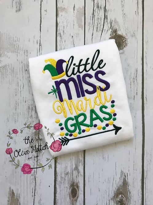 Little Miss Mardi Gras Shirt -- Applique