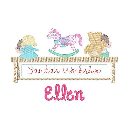 Santa's Workshop Sketch Embroidery