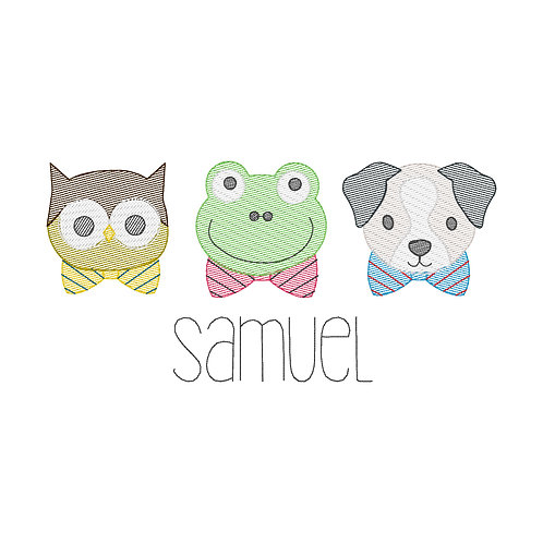 Cute Bowtie Animals Sketch Embroidery Design