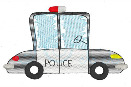 Police Car Sketch Embroidery