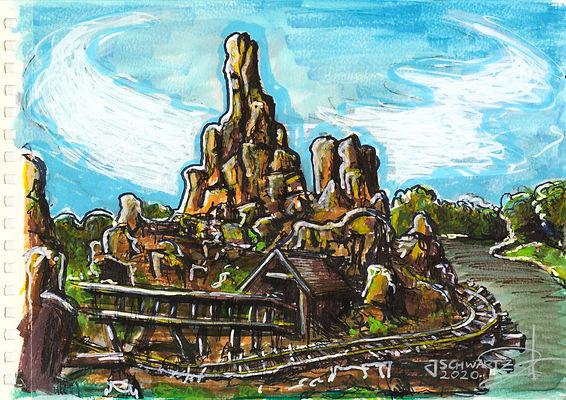 Big Thunder Mountain In Park Art Illustration - Josh Schwartz