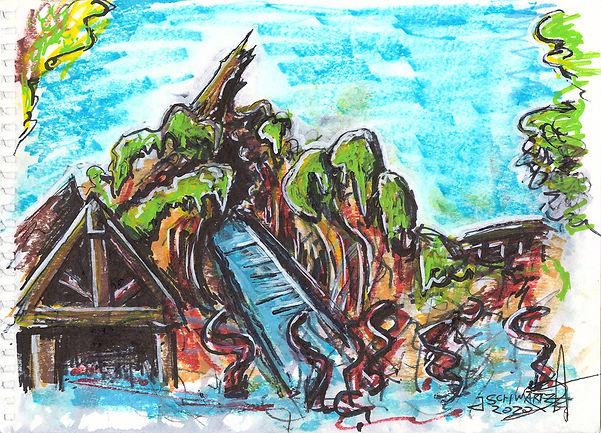 Drawing Splash Mountain On Splash Mountain - Josh Schwartz On Ride Art