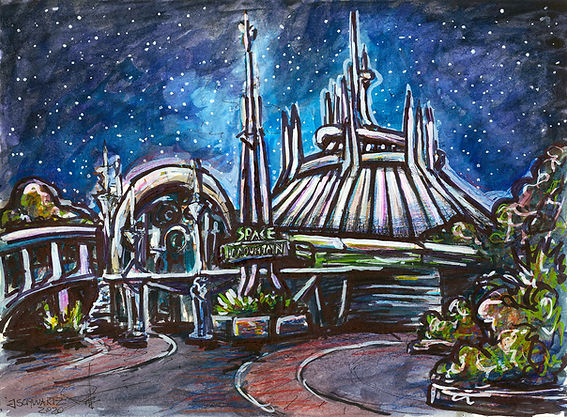 Space Mountain In Park Art - Watercolor Illustration