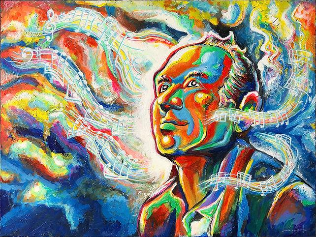 Hans Zimmer Pop Art Portrait - Josh Schwartz Canvas Painting