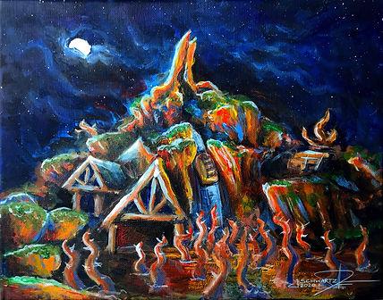 Splash Mountain At Night Painting - Moun