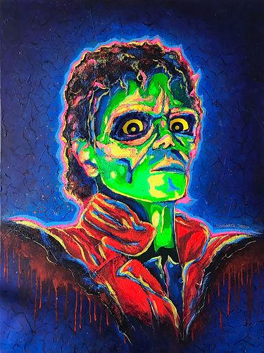 Michael Jackson Thriller Pop Art Portrait Painting with Staring Eyes - Josh Schwartz