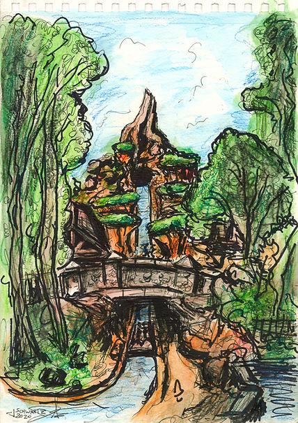 Splash Mountain In Park Art Illustration - Josh Schwartz