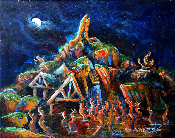 Splash Mountain At Night Painting - Josh Schwartz