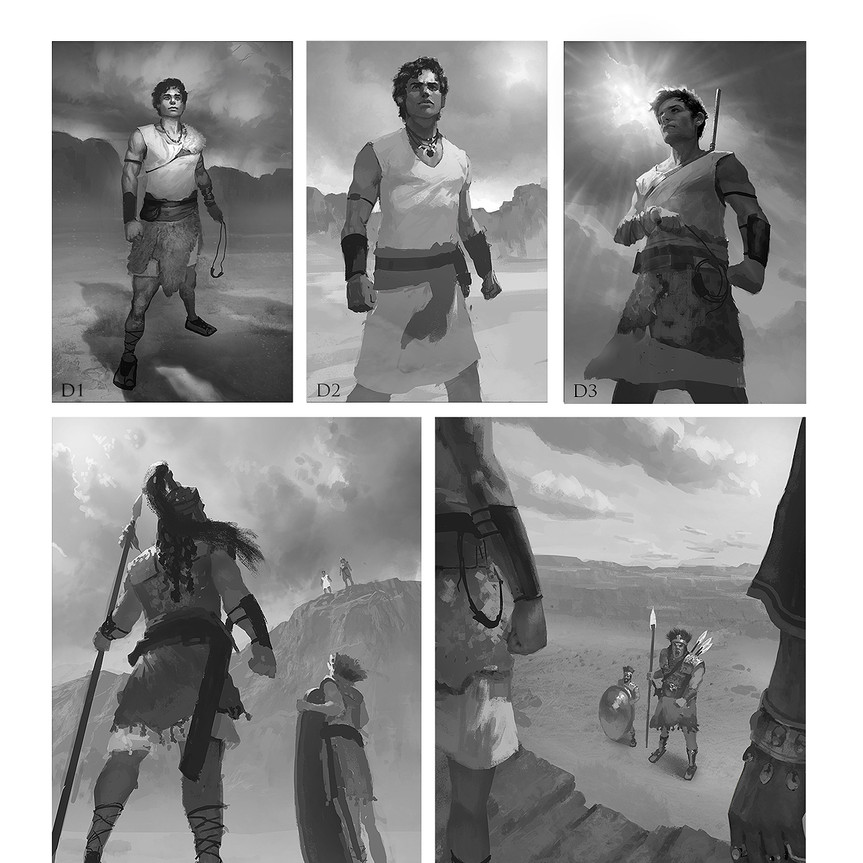 Giant of Gath grayscale sketches