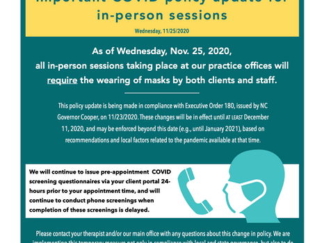 Updated COVID Policy for All In-Person Sessions: Nov. 25, 2020