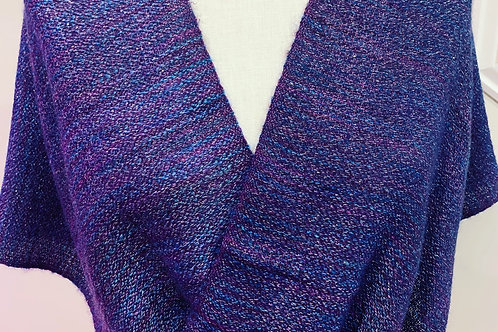Handwoven Mohair and Silk Mobius Wrap in shades of red violet, purples and reds