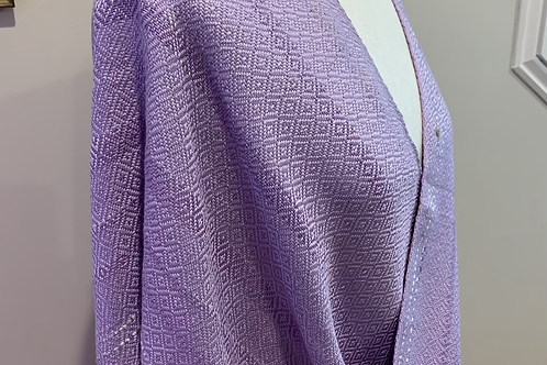 Handwoven Silk Mobius Wrap in a Birdseye pattern in shades of lavender
