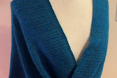 Handwoven Mohair and Silk Mobius Shawl in shades of teal and greens