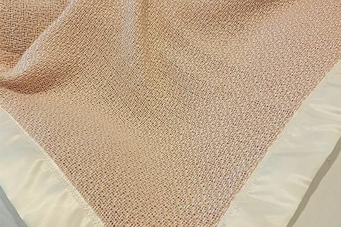 Handwoven Baby Blanket in Organic Pale Peach Turkish Cotton