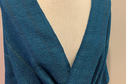 Handwoven Baby Alpaca and Silk Mobius Shawl in shades of blue