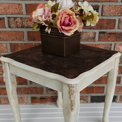 Old World Style End Table with Antique Ceiling Tile style finished top
