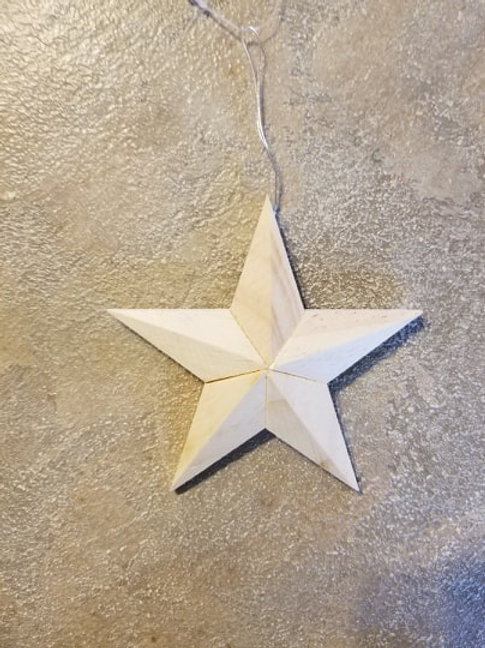 Unfinished Wood Star with hanger 4.25""