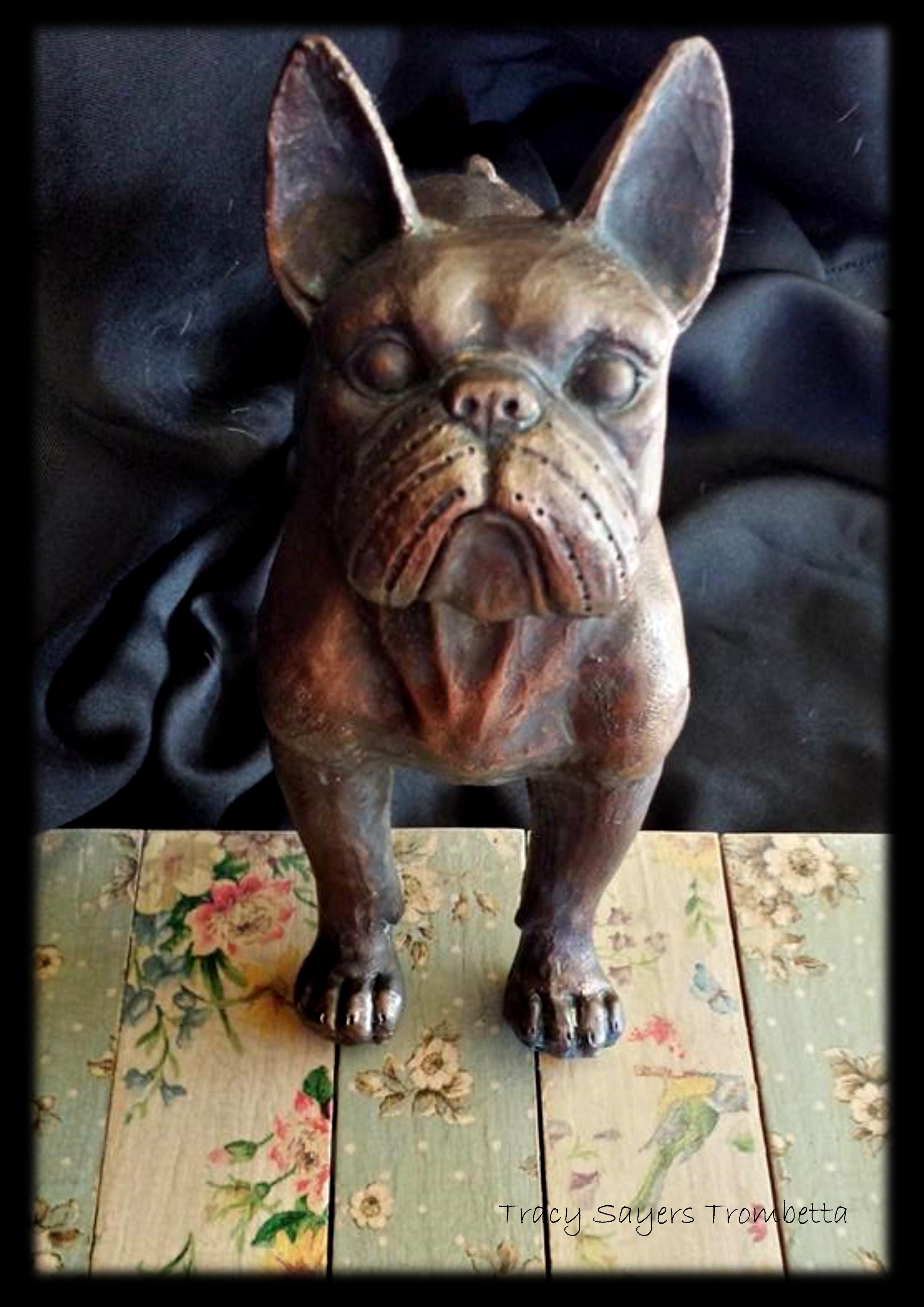 Bronze bulldog statue