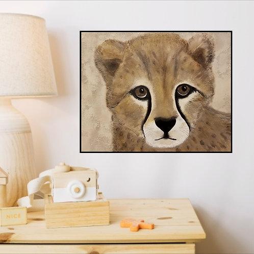 Original Art - Cheetah Cub  Original Painting (highly textured)