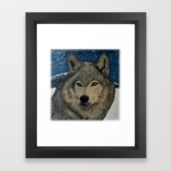 Winter Wolf (encaustic)