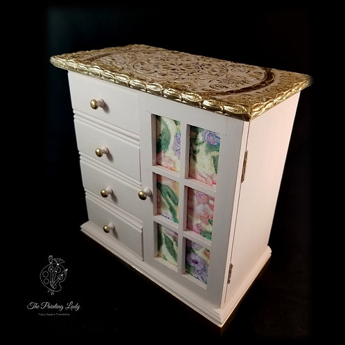 One of a kind Hand Painted/Embellished Jewelry Box