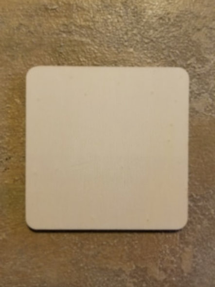 Unfinished Wood Square: Round Edge, 4.25 X 4.25 Inches