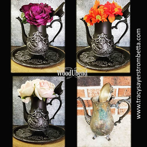 One of a kind hand painted boho teapot/vase with tray Mixed Media Art