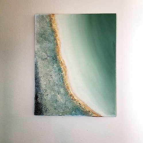 """Green Geode""  Original Textured Painting created by Tracy Sayers Trombetta"