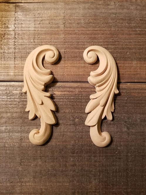 Feather Leaf Embellishment , WoodUbend Molding, Carved #1320