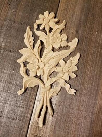 Large Floral Embellishment WoodUbend Molding, applique #513