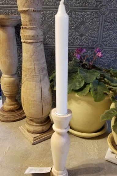 Unfinished Wood Candlestick with metal insert  6.75 inches