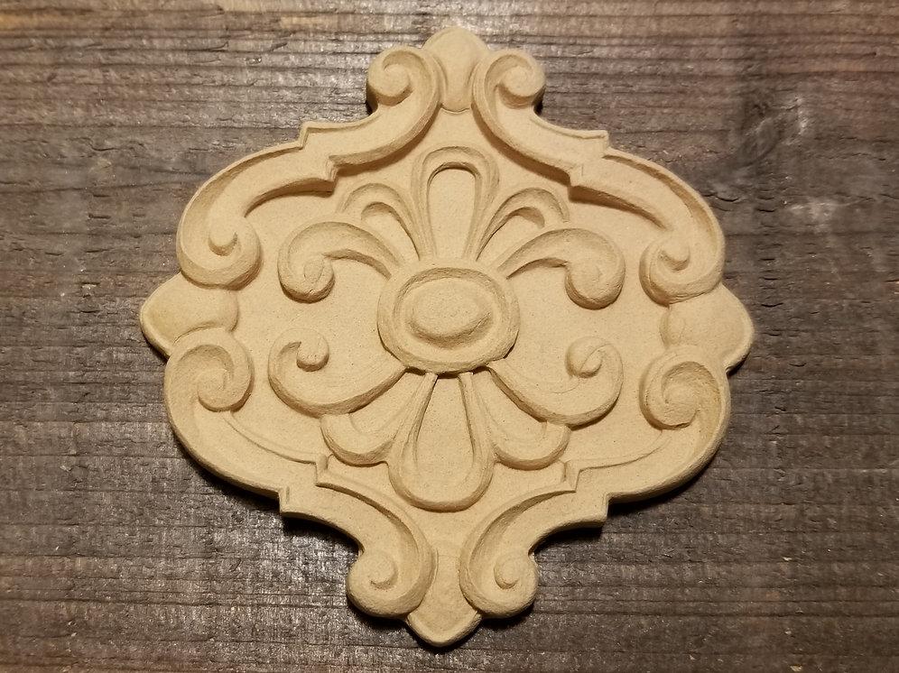 Embellishment , Wood Ubend Moulding, Medallion, Floral Detail # 1656