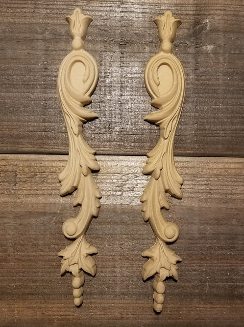 Applique , Wood Ubend Moulding, Carved ,Pair of scrolled drops, Ornate #1304