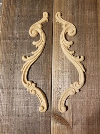 Applique , Wood Ubend Moulding, Carved ,Pair of curved drops, Ornate #1309