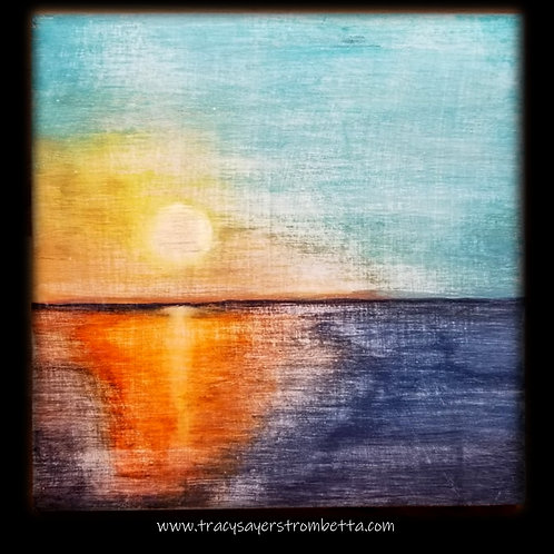 Distressed Sunset  Original Painting on wood