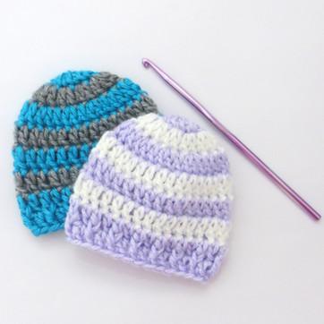 MicroPreemie Striped Hats - Free Crochet Pattern