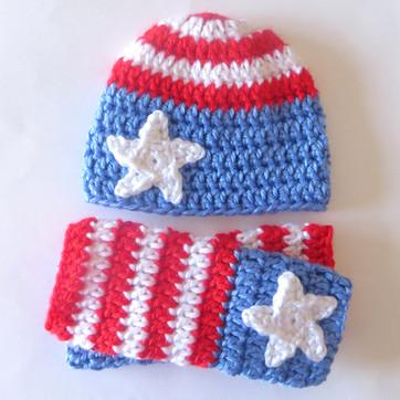 Newborn Patriotic Hat and Leg Warmers - Free Crochet Pattern