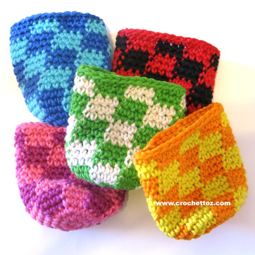 Checkered Can Cozy - Free Crochet Pattern