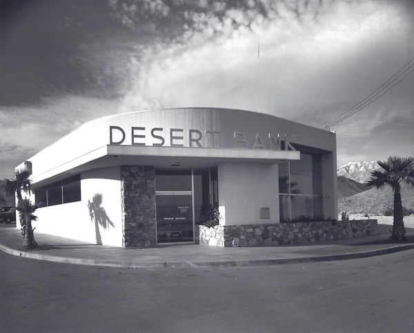 Desert Bank in Mid-century Modern Style opened in 1949, Cathedral City, CA