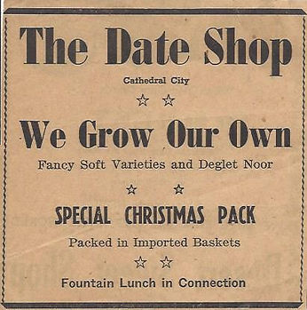 Add for The Date Shop in 1940s Cathedral City, CA