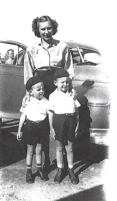 Lucille, Jim & John Greb in 1940s Cathedral City, CA