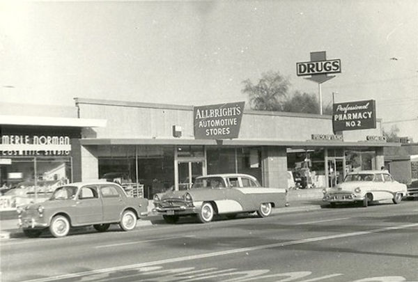 1950s Hwy 111 with Merle Norman and vintage cars, Cathedral City, CA