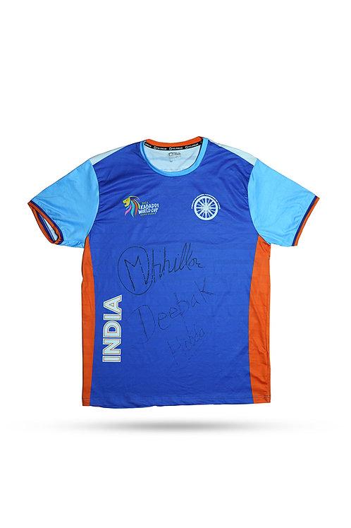 LOT 62 - Manjeet Chillar/Deepak Hooda signed Kabaddi World Cup 2016 India jersey