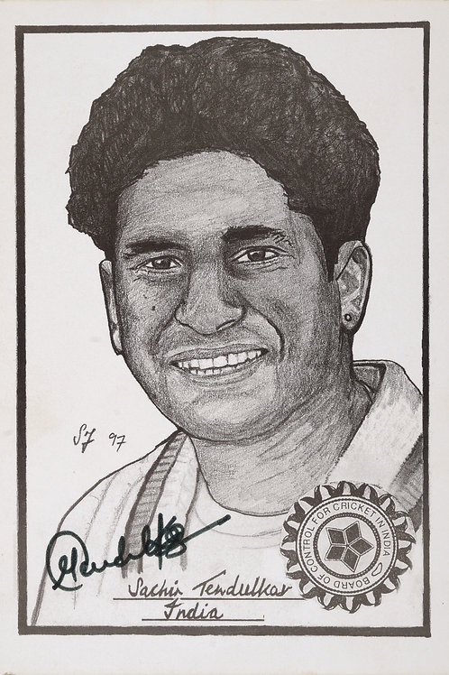 LOT 56 - Tendulkar signed caricature, signed Indian team greeting card 1992 WC