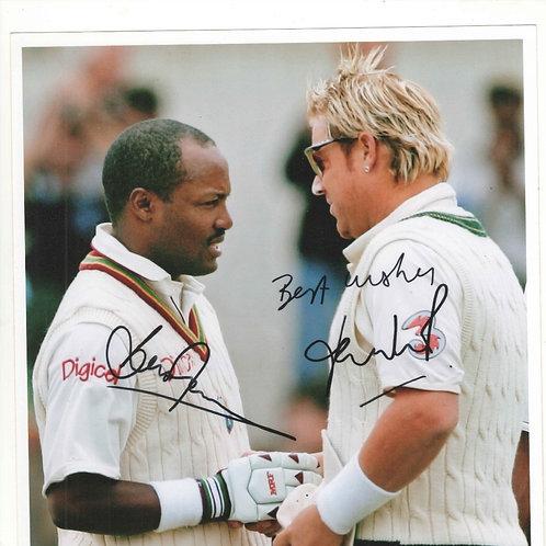 LOT 4 - Brian Lara & Shane Warne hand signed photograph