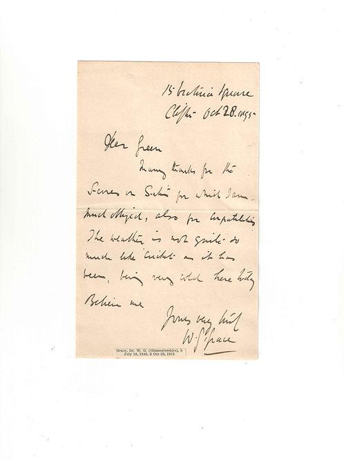 LOT 21 - Letter written by WG Grace