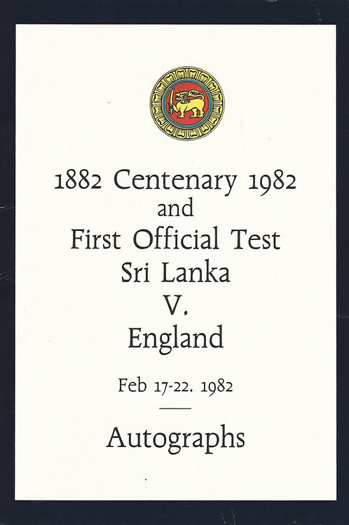 11 - Centenary Match 1982, First Official Test for Sri Lanka vs England