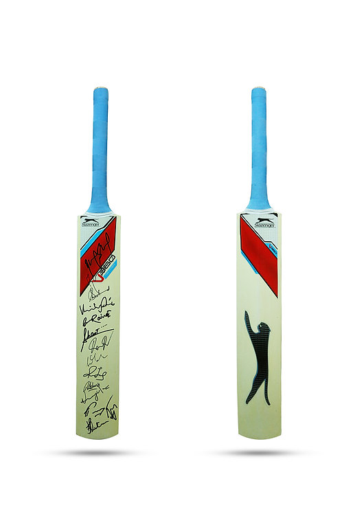LOT 55 - A bat signed by the winning Indian team of the 2013 Champions Trophy