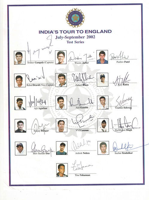 LOT 48 - India tour of England 2002 Team Sheet hand signed by Indian test squad
